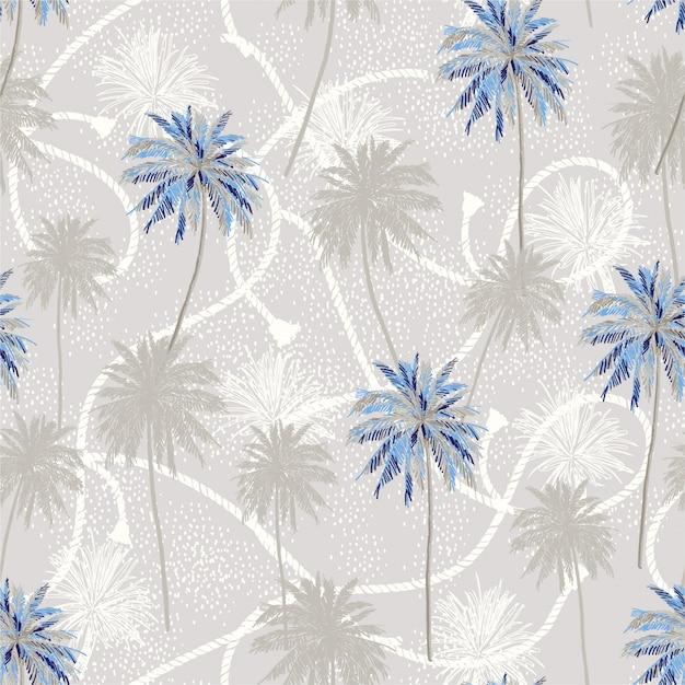 Tropische plam bomen laag op matroos touw textuur zomer stemming naadloze patroon. Premium Vector