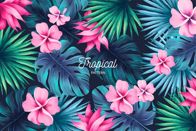 Tropische print met zomerbladeren Gratis Vector