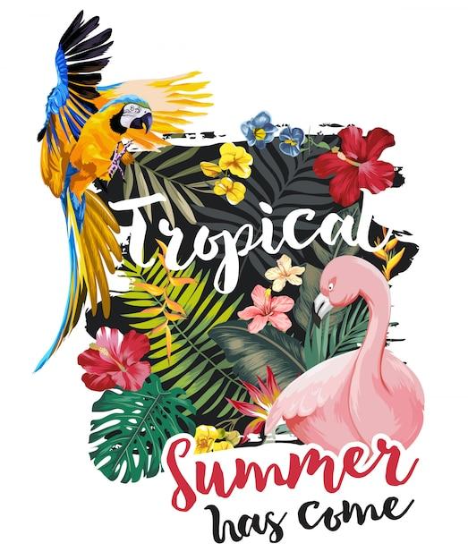 Tropische slogan met exotische bosbloemen en dieren Premium Vector
