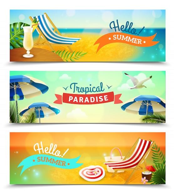 Tropische strand banners instellen Gratis Vector