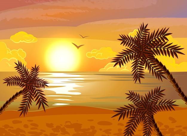 Tropische strand zonsondergang poster Gratis Vector