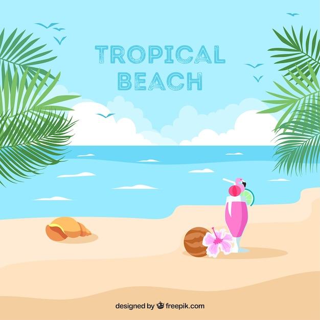 Tropische strandachtergrond Gratis Vector