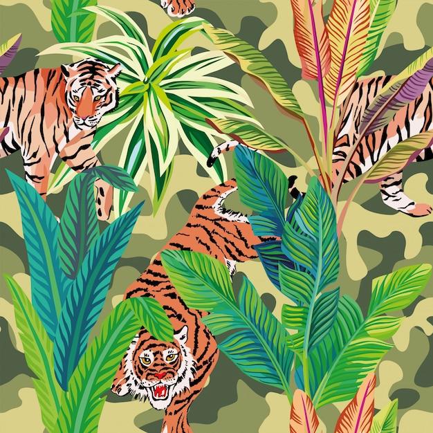Tropische tijgers Premium Vector