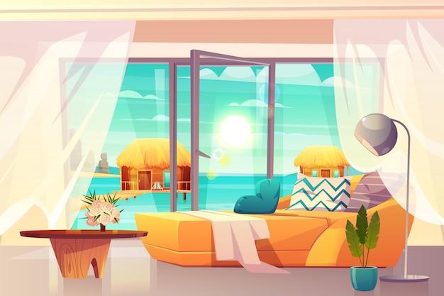 Tropische toevluchthotelruimte, luxeflats op binnenlandse het beeldverhaalvector van de oceaankust met comfortabel bed en uitgang op strandillustratie. vakantie en vrije tijd in het exotische land. chill out aan zee Gratis Vector