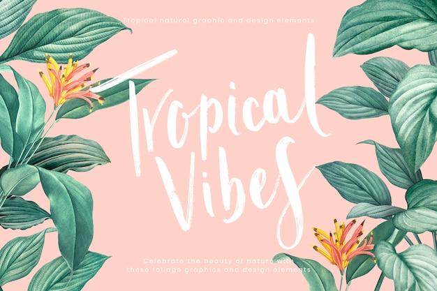 Tropische vibes achtergrond Gratis Vector