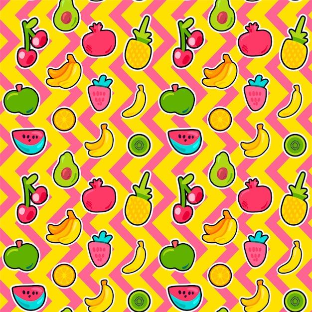 Tropische vruchten, bessen naadloos patroon Premium Vector