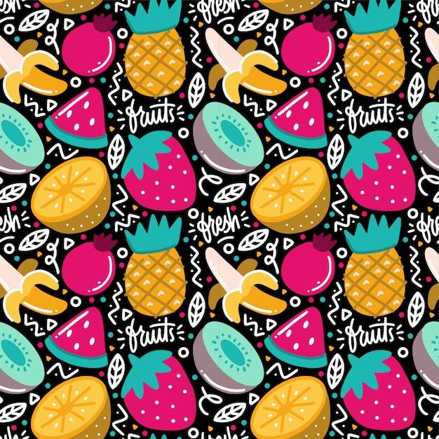 Tropische vruchten fiesta naadloze patroon doodle Premium Vector