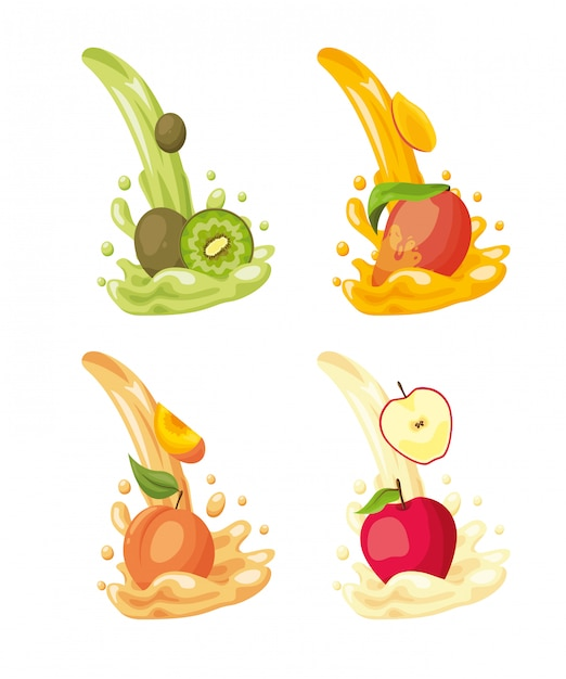 Tropische vruchten logo's Gratis Vector