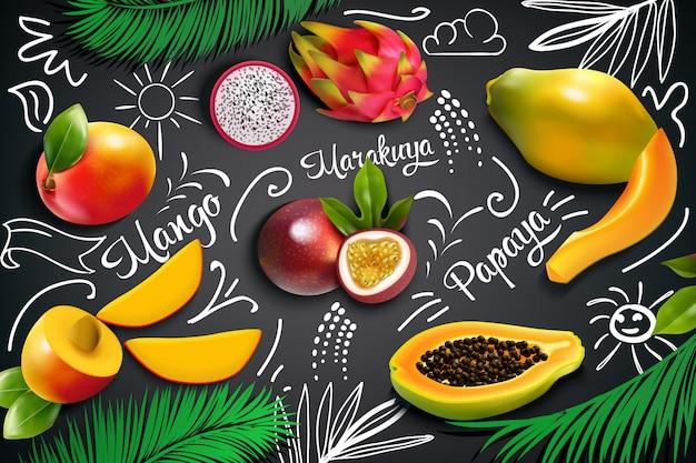 Tropische vruchten schoolbordsamenstelling Gratis Vector