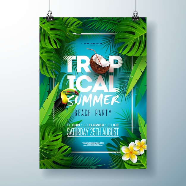 Tropische zomer beach party flyer of poster sjabloonontwerp met bloem, kokos en toucan vogel Premium Vector