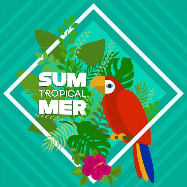 Tropische zomer met papegaai en florale natuur Premium Vector