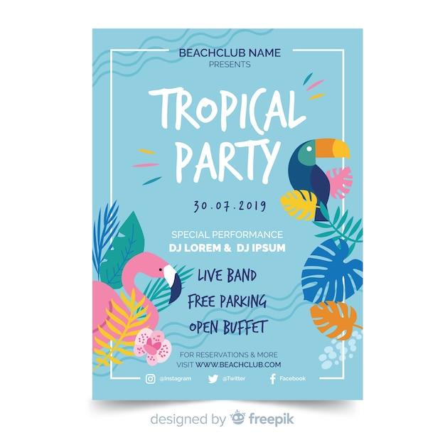 Tropische zomer partij folder sjabloon Gratis Vector