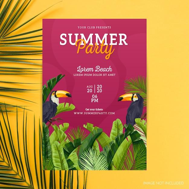 Tropische zomer partij poster Gratis Vector