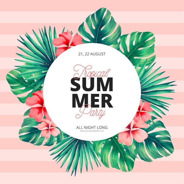 Tropische zomer poster sjabloon Gratis Vector