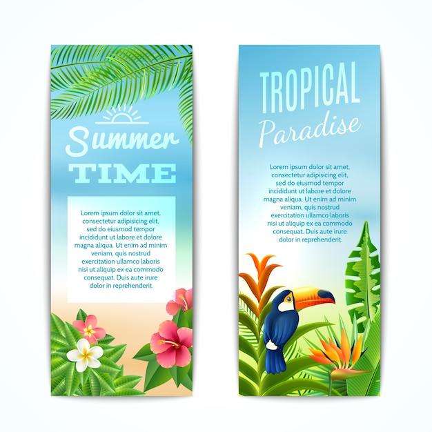 Tropische zomerbanner Gratis Vector