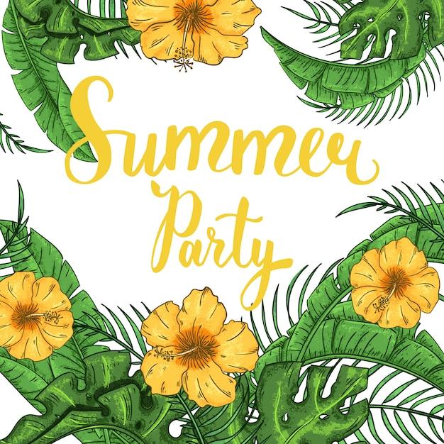 Tropische zomerfeest uitnodiging met palmbladeren en exotische bloemen Premium Vector