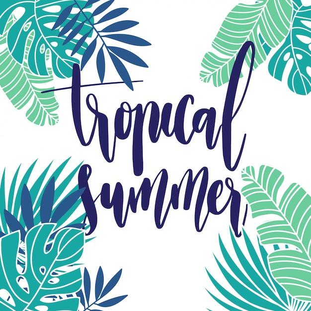 Tropische zomervakantie achtergrond Premium Vector