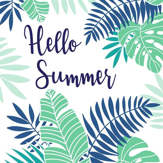 Tropische zomervakantie poster Premium Vector