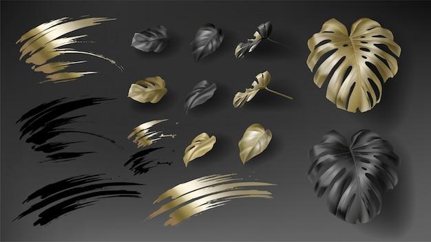 Tropische zwarte en gouden monstera Gratis Vector