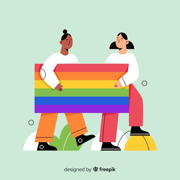 Trotsdagvlag met regenboogkleuren Gratis Vector