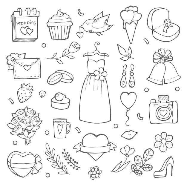 Trouwdag elementen op doodle stijl. verschillende foto's van bruiden en bruiloftstools Premium Vector