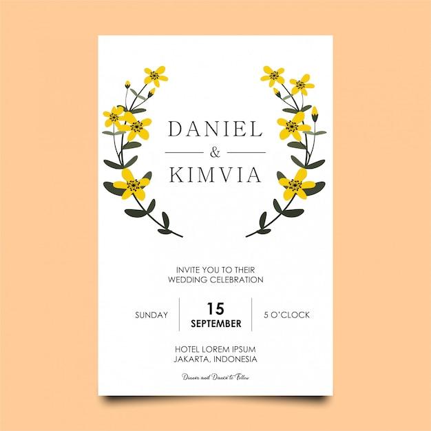 Trouwkaarten met gele bloemen Premium Vector