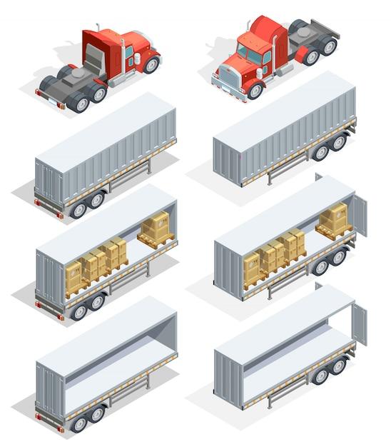 Truck isometrische icon set Gratis Vector