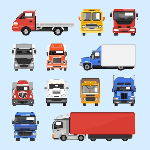 Truck pictogrammen instellen Gratis Vector