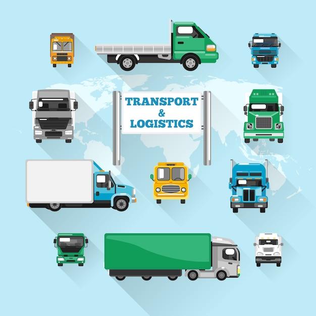 Truck pictogrammen plat Gratis Vector