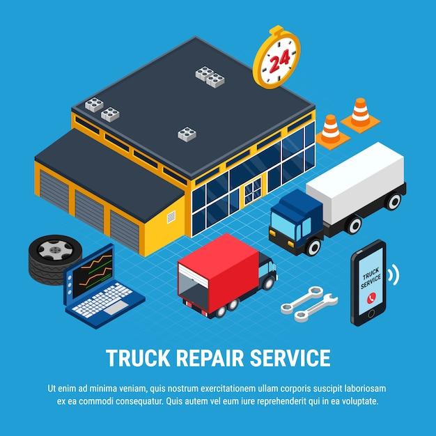 Truck reparatie service isometrische concept met diagnostische hulpmiddelen vector illustratie Gratis Vector