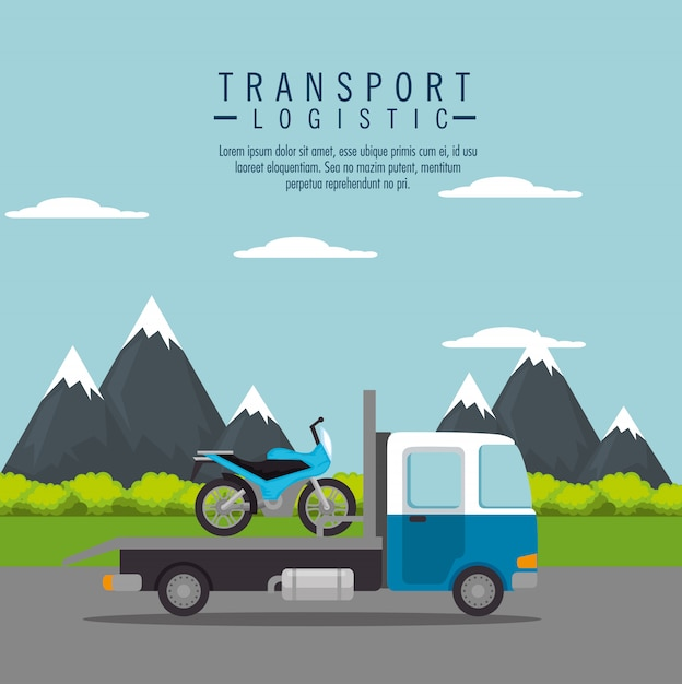Truck transport motorfiets service Gratis Vector