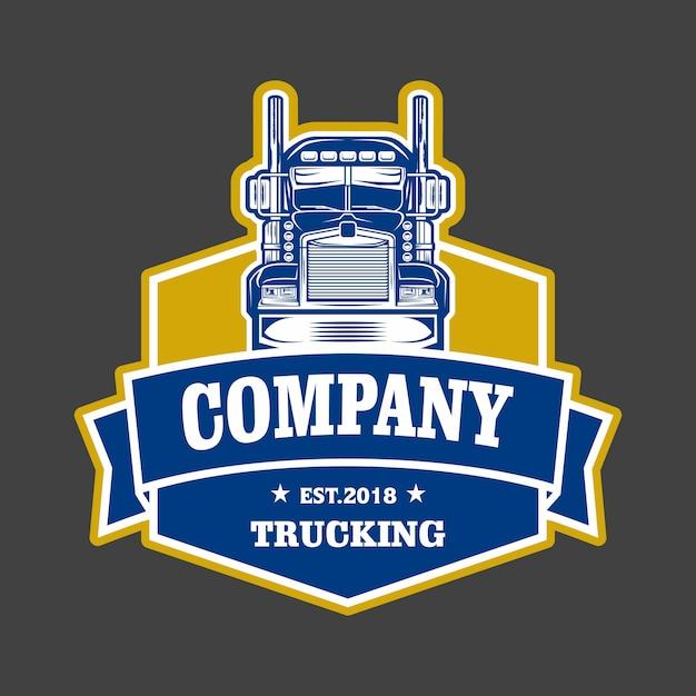 Trucking company embleem logo Premium Vector