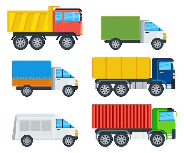 Trucks cartoon modellen collectie Premium Vector
