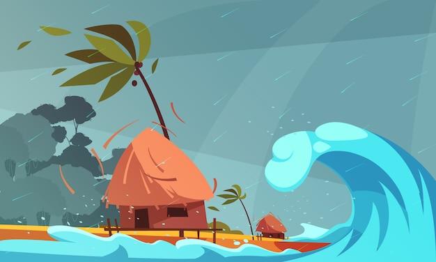 Tsunami op de oceaan met bungalow en tropische kust Gratis Vector
