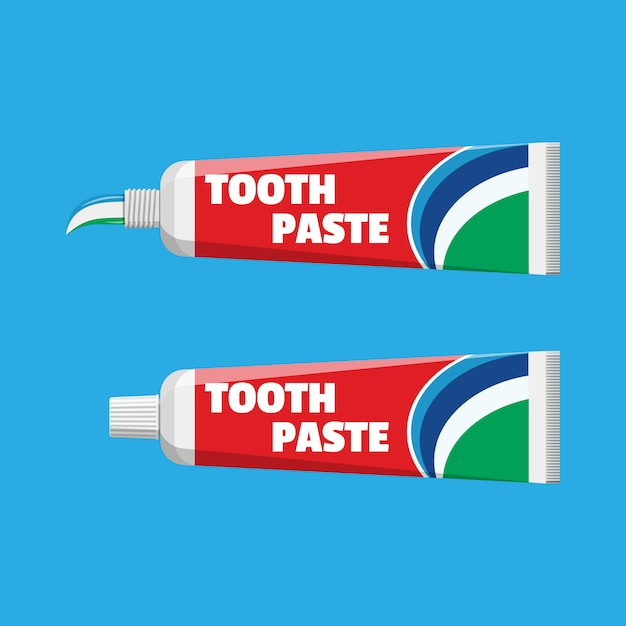 Tube met geperste pasta. pakket met tandpasta Premium Vector