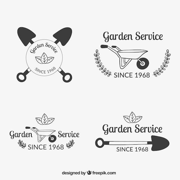 Tuin dienst badges Gratis Vector