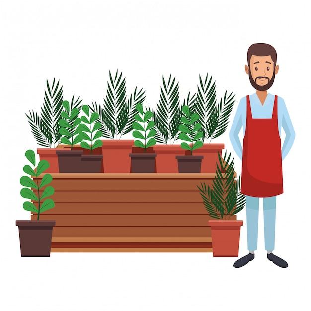 Tuin en tuinmannen Premium Vector