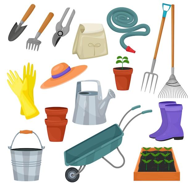 Tuin hulpmiddel vector tuingereedschap hark of schop en grasmaaier van tuinman boerderij collectie of landbouw set geïsoleerd Premium Vector