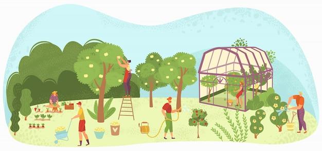 Tuin zorg mensen tuinieren, oogsten en verzorgen van bomen, planten in plant-house en bloemen tuinlieden illustratie. Premium Vector