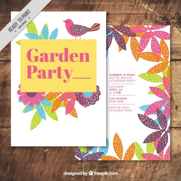 Tuinfeest kaart met de hand getekend gekleurde bladeren en vogel Gratis Vector