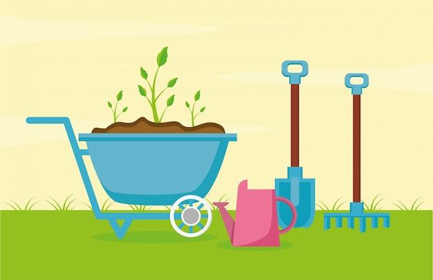 Tuingereedschap in de tuin Gratis Vector