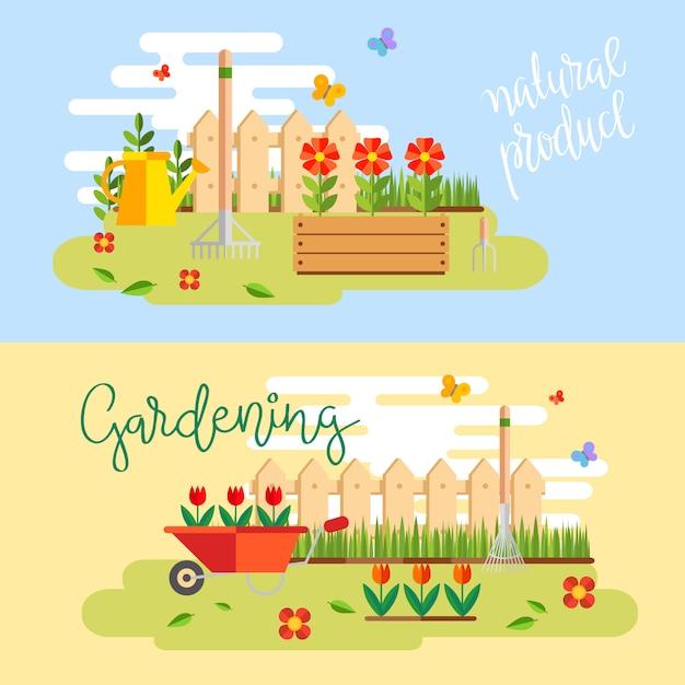 Tuinieren en tuinbouw, hobbygereedschap, groentekist en planten. Gratis Vector
