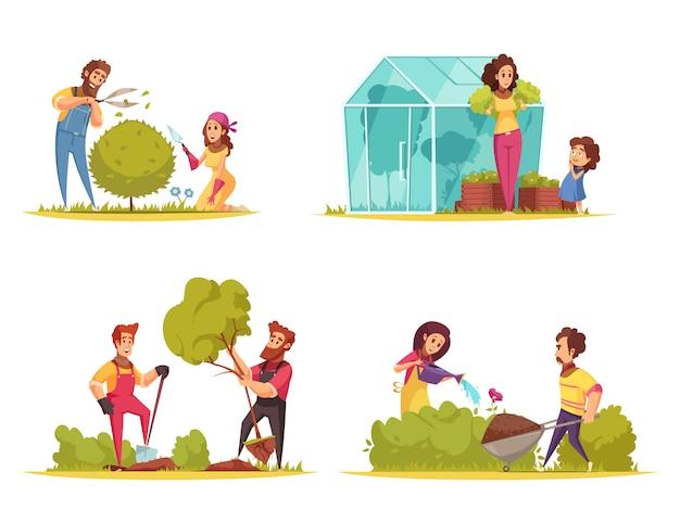 Tuinieren groenten groeien trimmen van struiken planten bomen water geven van bloemen cartoon design concept Gratis Vector