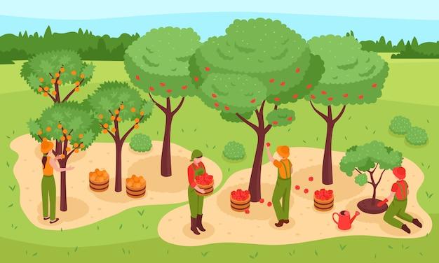 Tuinieren isometrische illustratie Gratis Vector