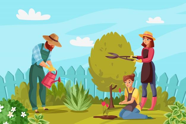 Tuinieren mensen illustratie Premium Vector