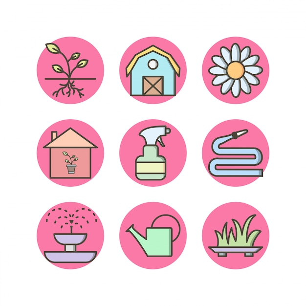 Tuinieren pictogrammen Premium Vector