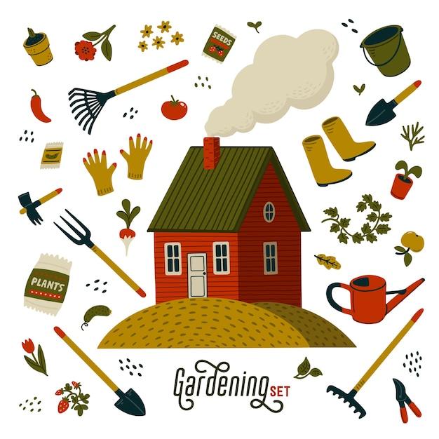 Tuinieren set. rode boerderij en verschillende soorten gereedschappen voor tuinieren en landschapsarchitectuur. Premium Vector