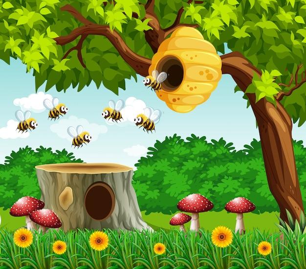 Tuinscène met bijen het vliegen Gratis Vector
