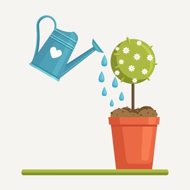 Tuinwater kan planten, jonge boompjes, fruitboom water geven Premium Vector