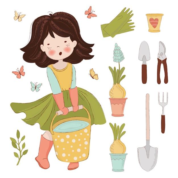 Tuinwerk illustratie set voorjaar Premium Vector